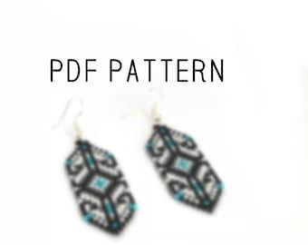 Square stitch PDF Pattern earrings