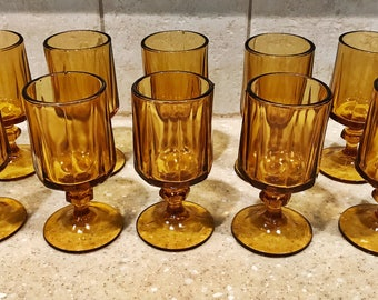 Set of 11: Vintage Amber Juice Glass Nouveau Gold by Colony