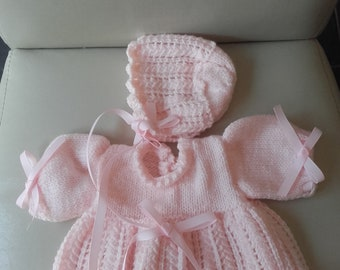 Baby girl dress, crochet dress, girl dress, baby dress, newborn dress, crochet girl dress, girl hat, newborn hat, ready to ship