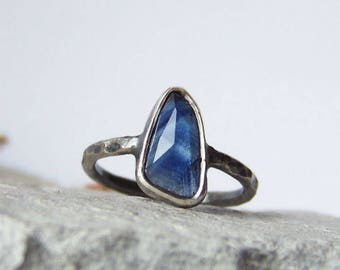 Sapphire ring, rose cut sapphire ring, blue sapphire ring, minimalist ring, oxitized silver ring, raw silver ring