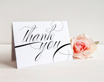 Wedding Thank You Card, Calligraphy Thank You Card, Folded Thank You Card, Printable Thank You, Printed Thank You Card, Script, Overjoyed
