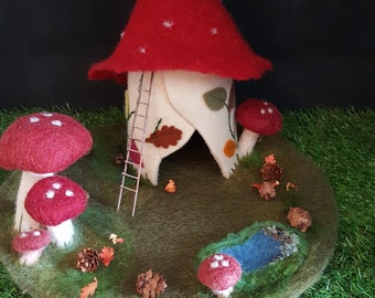Toadstool felt play scape