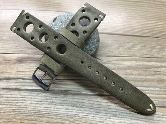 Leather watch band, leather watch strap, Vintage Gray watch band, Rally Leather Watch strap, Racing watch band - 19/20mm lug, FREE SHIPPING