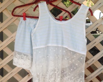Sleepwear set, Cotton Knit,Wedding lace, Cotton  Lace , Organic cotton, Tap Pants,women's sleep set,cotton lingerie
