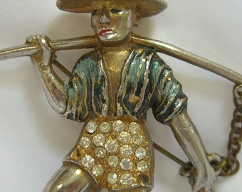 Vintage Brooch Chinese Water Carrier 1940s Brunialti Book Piece Unsigned Rice Weiner Jewelry