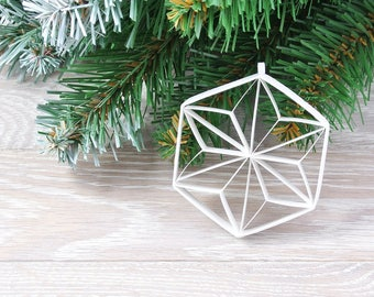 Christmas star in a hexagon geometric paper, Japanese style, Hexagon 3D decoration