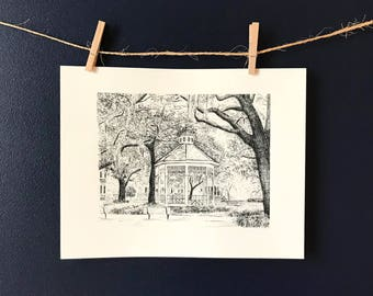 Whitefield Square Savannah Wedding Gazebo - Black and White Pen and Ink Print