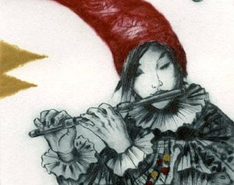 Serenade, intaglio print, dry point,original print, art, engraving, music, flute
