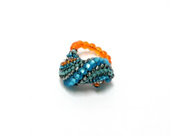 Beaded Ring Blue and Orange Bead Spiral Statement Ring