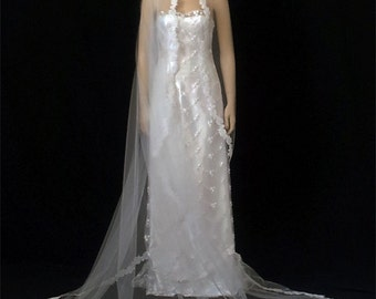 """1T White Cathedral Mantilla Veil, Veil, Veils,Cathedral 108""""X109"""" Hand Beaded Lace Edge Veil"""