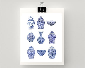 LARGE REPRODUCTION PRINT Blue and white ginger jars  - print of my original watercolour paintings