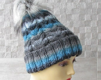 Slouchy Beanie hat, Winter hat for men, Knitted Mens Cap with Fur Pom Pom