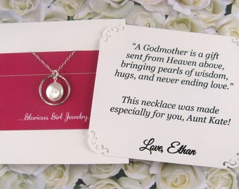 GODMOTHER Gift Godmother Necklace + Poem Card Genuine COIN PEARL Gift for Godmother Jewelry Sterling Silver Gift for Grandmother Baptism