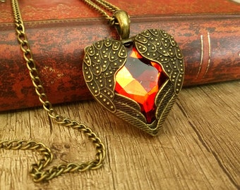 Gothic Victorian Heart Necklace Pendant Jewelry