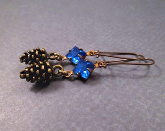 Pine Cone Earrings, Brass Pinecone Charms, Royal Blue Glass Rhinestones, Dangle Earrings, FREE Shipping U.S.