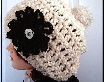 Hat crochet Pattern, Chunky Slouchie Hat, crochet pattern, newborn baby to adult women, number 120, instant download