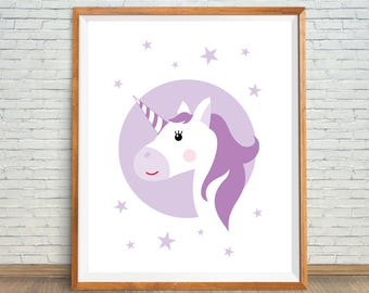 Purple Head Unicorn, Unicorn Nursery Decor, Purple Printable Art, Purple Unicorn Gift, Purple Unicorn Party, Unicorn Wall Art, Unicorn Art