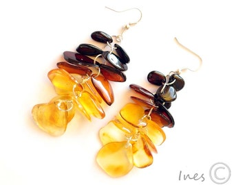 Baltic Amber Dangle Earrings, Rainbow Color Amber Beads