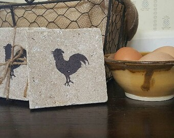 Mothers Day Gift, Chicken, Mothers Day, Chicken Decor, Chickens, Chicken Coasters, Stone Coasters, Gifts for Her, Mom Gift, Farmhouse Decor
