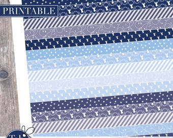 December printable planner washi tape stickers in navy and blue for vertical Erin Condren, Happy planners.