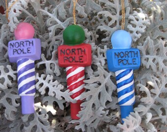 North Pole Ornaments - Set of 3