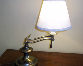 Vintage Brass Swing Lamp - Brass Piano Lamp - Brass Swivel Lamp - Adjustable Lamp