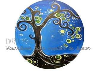 2 cabochons craft tree 3 glass 14 mm N434