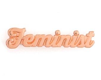 Feminist Rose Gold Enamel Pin