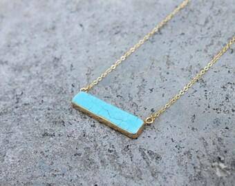 Turquoise Howlite Stone Bar Necklace // Minimal Necklace // Gemstone Layering Necklace // Geometric Necklace // Stone Bar Necklace