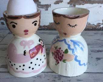Vintage Egg Cups Bride Girl with Doll Handpainted Figural 1940s 1950s