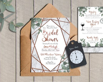 Round the Clock Bridal Shower Invitation • Geometric • Rose Gold • Eucalyptus • Copper and Marble