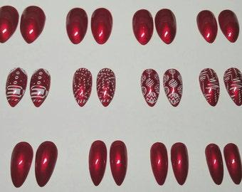 Christmas Nails, Christmas Press on Nails | False Nails | Fake Nails | Glue on Nails | Candy Cane Nails | Santa Nails |Holiday Nails | Nails