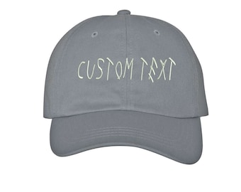 Custom Dad Hat Embroidered, DRIZZY FONT, Champagne Papi, Your text Here Personalized Custom Baseball Cap, Choose Your Text, Gray