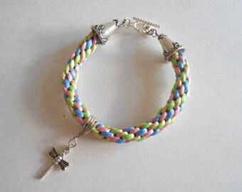 Blue Bracelet Pink Bracelet Kumihimo Bracelet Dragonfly Charm Braided Bracelet Silky Cord Braid Rattail Cord Braid Kumihimo Braid