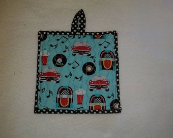 9 X 8 50's Juke Box, Pot Holder, Hot Pad, Oven Mitt, Insulated, Quilted, Pocket, Red, Black, Aqua, Records