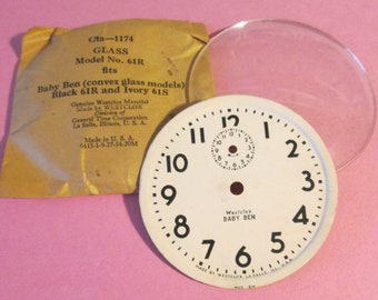 """2 5/8"""" Original Westclox Baby Ben Alarm Clock Dial and Domed Glass for your Clock Projects, Steampunk Art and Etc.."""