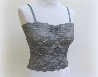 Dark gray elastic floral lace tank top. Gray bralette. Gray lingerie. Gray lace camisole. Lace lingerie. Bridal lingerie. Gift for her.