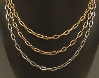 Milor Italy Signed 3 Strand Chain Necklace