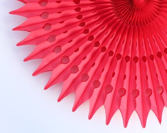 """21"""" Red Tissue Paper Fan, Valentine's Day Party Decor, Red Honeycomb Decoration"""