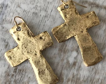 Gold Cross Earrings, Rustic Cross Earrings, Large Cross Earrings, Dangle Earrings, Hammered Cross Earrings