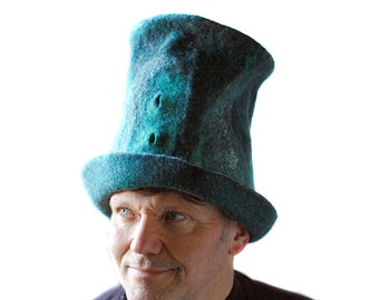 Tall Green Top Hat in Slytherin Colors  Wizard Hat Silver and Emerald Mens Top Hat Felted Merino Wool Topper Large Size Festival Hat