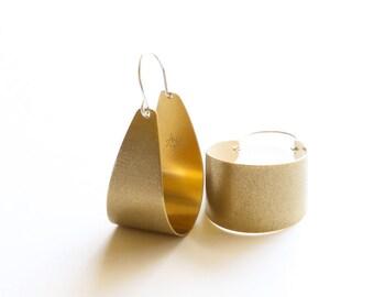 "Lovely handmade brass earrings textured and oxidized for a modern look, built durable yet lightweight - ""Brass Scoop Earrings"""