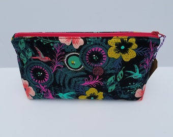 Cotton and Steel Honeymoon Hummingbird and Flowers Zipper Pouch Makeup Cosmetic Bag