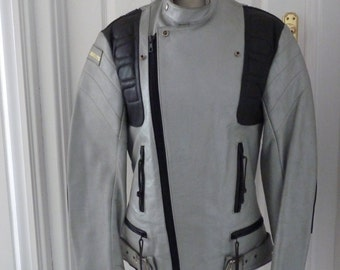 Vintage Grey and Black Leather Motorcycle Jacket by Interstate Size 38