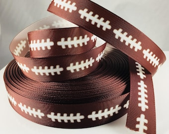 Foodball Ribbon, Football Laces, Grosgrain Ribbon, Sport Ribbon, Football, Brown Ribbon, Hairbow Ribbon, Scrapbooking Ribbon, Embelishment