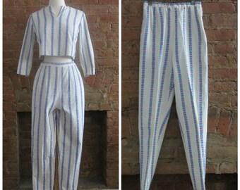 1950s crop top and cigarette pant set | 50's MCM Classic Mid Century | XS | Audrey Hepburn