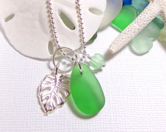 Sea Glass Necklace Genuine Beach Glass Monstera Leaf