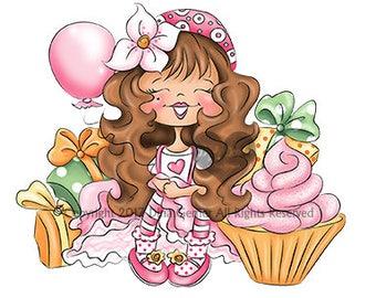 Instant Download Digital Stamp Digi Stamp Rosie Cupcake by Dina Gerner