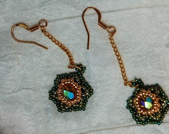 Chained Cabbage Rose Earrings in Ombre Olive and Gold