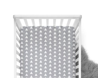 Fitted Crib Sheet Grey Triangle - ModFox Exclusive - Grey Crib Sheet - Triangle Crib Sheet - Grey Crib Bedding - Organic Baby Bedding